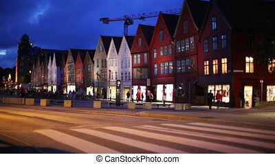 Bergen night - Bergen houses on quay.