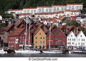 bergen, norge, -, cirka, juli, 2012:, synen, av, stad,...
