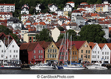 BERGEN, NORWAY - CIRCA JULY 2012: Views of city circa July, 2012 in Berben. Berben is the second largest city in Norway