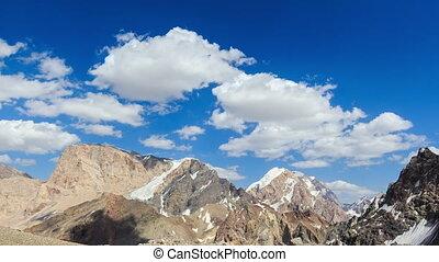 bergen, onder, de, clouds., pamir, tajikistan., timelapse., 4k