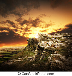 bergen, op, ondergaande zon