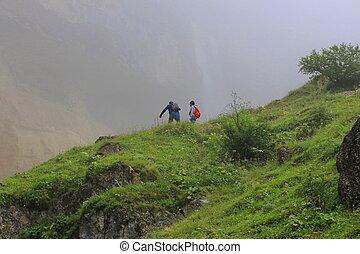 bergen, paar, getrouwd, boezem, natuur