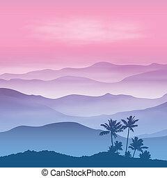 bergen, palm, mist, boompje, achtergrond