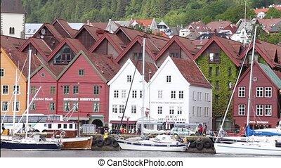 Bergen panorama - panorama of famous norwegian street...