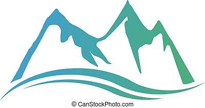 bergen, pieken, logo., vector, grafisch ontwerp