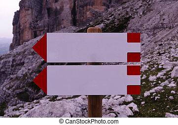 bergen, richting, tekens & borden, leeg