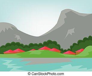 bergen, rivier, bos, door, dorp