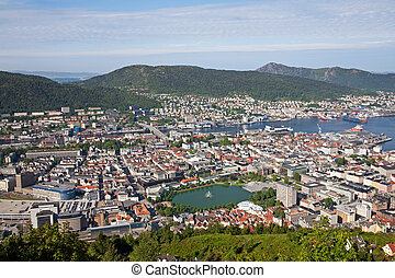 bergen seen from the hill - view of the bergen city centrum...