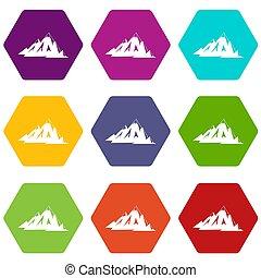 bergen, set, canadees, kleur, hexahedron, pictogram