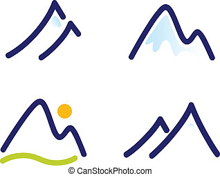bergen, set, heuvels, besneeuwd, iconen, vrijstaand, witte...