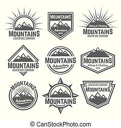 bergen, set, van, vector, monochroom, ouderwetse , kentekens