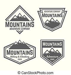 bergen, set, van, vector, vier, ouderwetse , kentekens