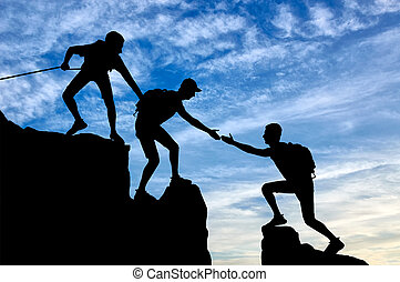 bergen, silhouette, helpen, twee, klimmers, een ander, klimmer