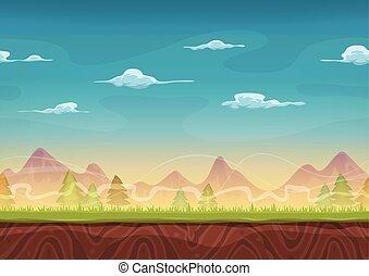 bergen, spel, ui, seamless, landscape