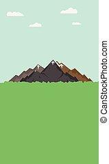 bergen, spotprent, landscape