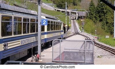 bergen, tandrad, besneeuwd, alpen, railway., trein,...