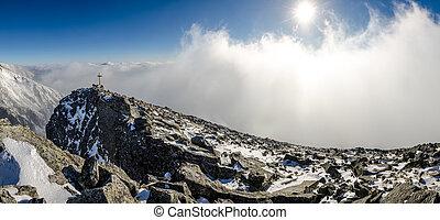 bergen, tatras, winter, hoog, panoramisch, slowakije, aanzicht
