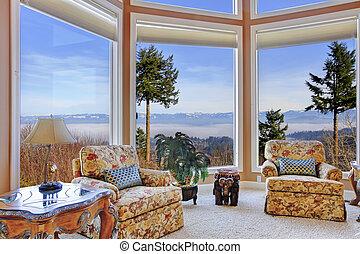 bergen, venster, verbazend, verbazend, rijk, inwendig overzicht