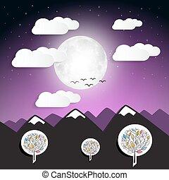 bergen, volle, abstract, illustratie, maan, vector, landscape