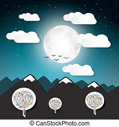 bergen, volle, illustratie, maan, vector, landscape