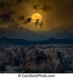 bergen, volle maan, gloeiend, boven, rijzen