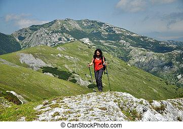 bergen, vrouw, trekking