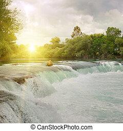 bergen, waterval, rivier