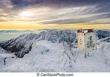 bergen, winter, berg, landschap, piek, aanzicht