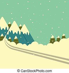 bergen, winter, track., vector, achtergrond, ski