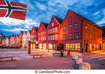 Bergen with colorful houses in Norway