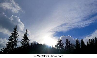 bergen, wolken, timelapse