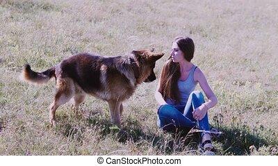 berger allemand, écoles, chien, femme