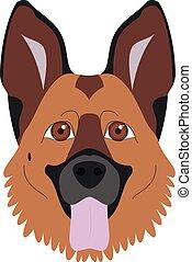 berger, allemand, chien, illustration, isolé, vecteur, fond, blanc