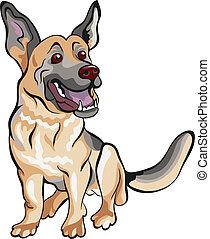 berger, allemand, race, chien, vecteur, dessin animé
