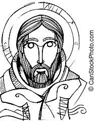 berger, bon, christ, crayon, illustration, jésus