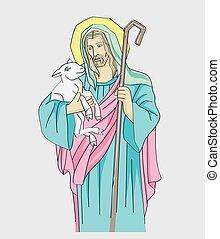 berger, bon, christ, illustration, jésus