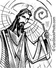 berger, bon, christ, illustration, jésus, encre