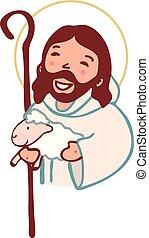 berger, bon, christ, jésus, numérique, dessin animé