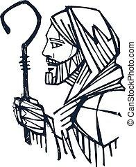 berger, encre, christ, illustration, jésus, bon