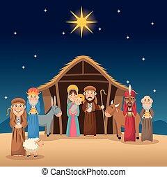 berger, hommes sages, jésus, joseph, conception, marie