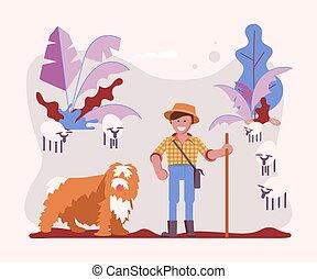 berger, sien, jeune, chien, vacher, homme