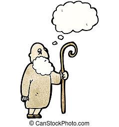 berger, vieux, dessin animé, homme