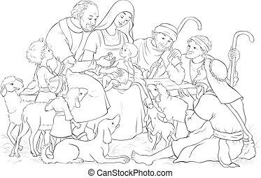 bergers, marie, coloration, saint, famille, (baby, scène, nativity noël, joseph), jésus, page