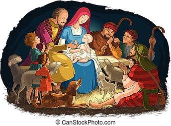 bergers, marie, saint, famille, (baby, scène, nativité, joseph), jésus, noël