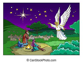 bergers, story., angel., noël