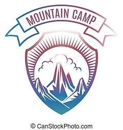 bergkamp, ontwerp, kleurrijke, etiket
