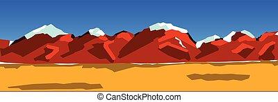 bergketen, achtergrond, illustratie