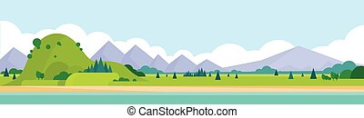 bergketen, horizontaal, landscape, zomer
