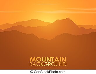 bergketen, op, sunset., vector, achtergrond.