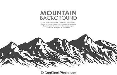 bergketen, silhouette, vrijstaand, op, white.
